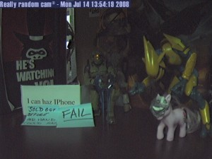 iPhone sold out before Mr Hand could haz - FAIL