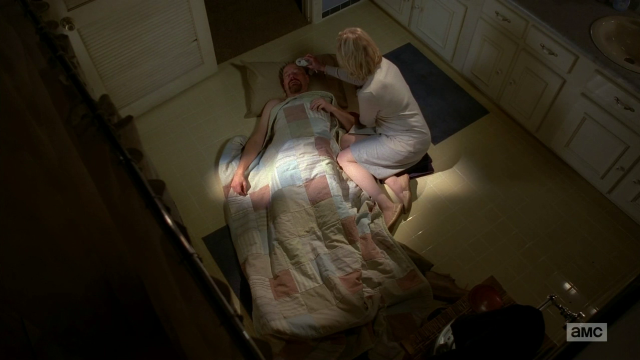 Breaking Bad S5E10 Walt crashed on the bathroom floor
